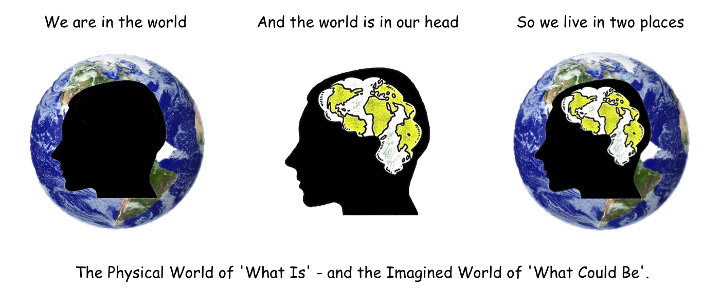 We live in 2 places. The ps and the ss worlds - 3 heads